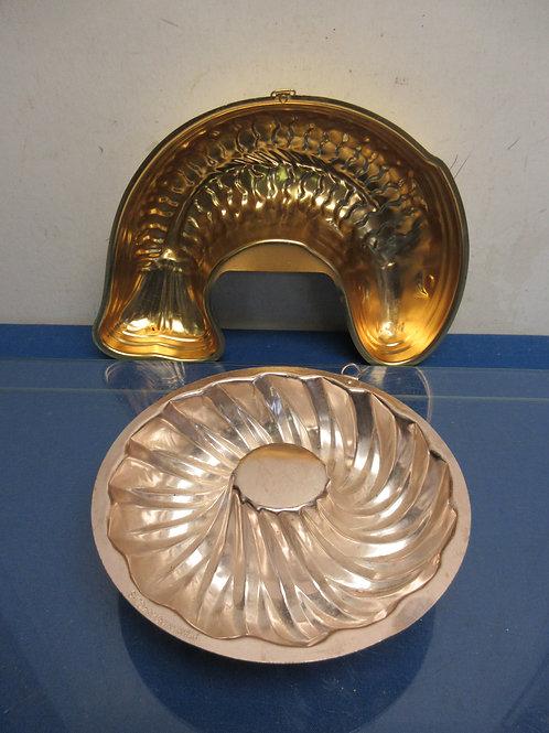 Pair of coppertone jello molds