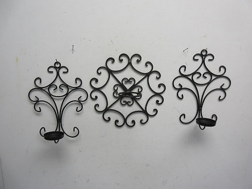 Set of 3 black metal candle wall scones