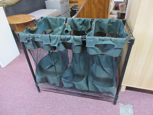 Black metal 3 compartment hamper/bin organizer with green canvas bags, 36x18x30