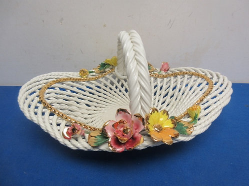 Fine ceramic white woven basket with dimensional flower accents, from italy