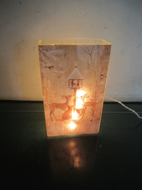 Glass nightlight with woodlawn animals and birdhouse