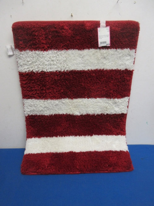 """Red and white striped small door mat, New, 16x24"""""""