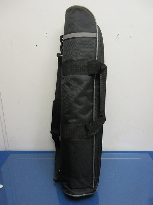Black and gray tripod carry bag with padded interior and shoulder strap