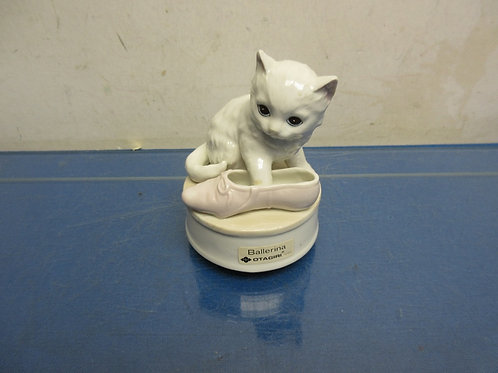 Cat musical statue-cat with ballet shoe, spins with music