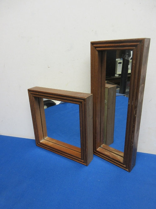 """Pair of small mirrors framed in wood, 8x8"""" and 5x13"""""""