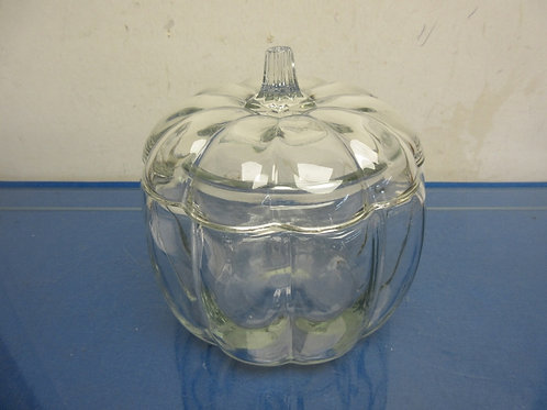 Glass pumpkin canister with lid