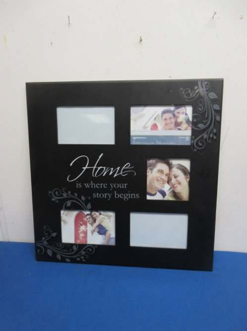 """Collage photo frame, """"Home is where your story begins"""" with 5 photo slots"""