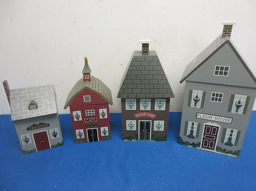Set of 4 building shaped canisters with plastic liners