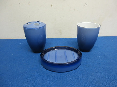 Blue 3 pc plastic bathroom set soap dish, toothbrush holder and cup