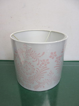 """White drum style lamp shade with pink swirl design 9x8""""high"""