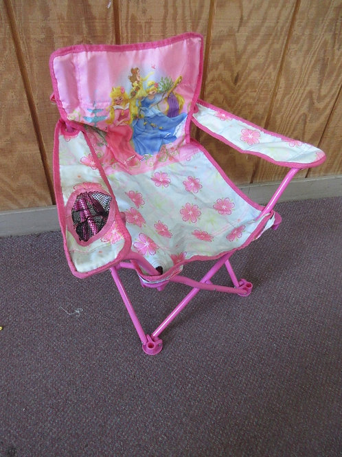 Child size pink princess fold up camping chair with carry bag