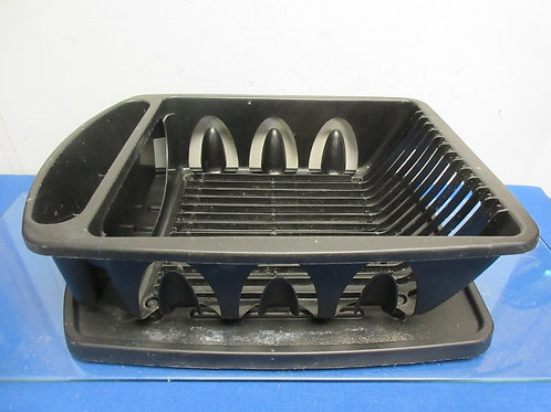 Black plastic dish drying rack with tray