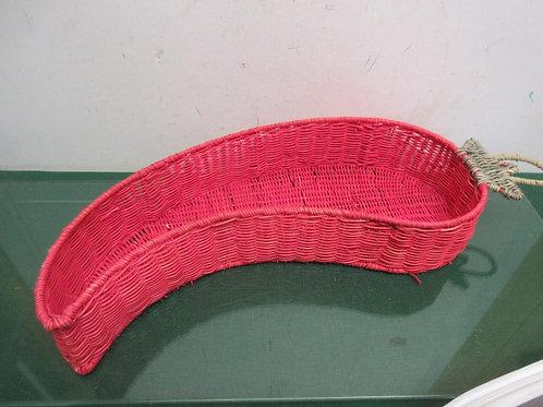 """Red wicker basket shaped like a hot pepper, 7x25"""""""
