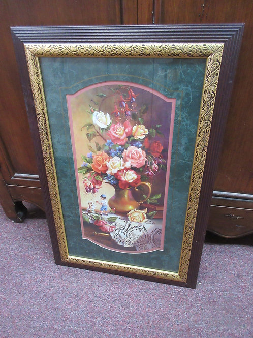 """Picture of boy, dog & flowers in brown frame 15x23"""""""