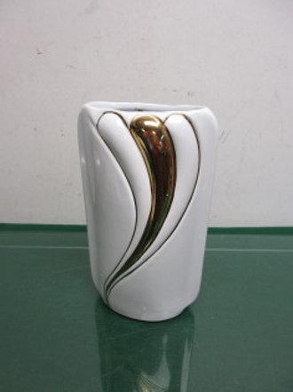"""White and gold ceramic vase 9"""" high"""