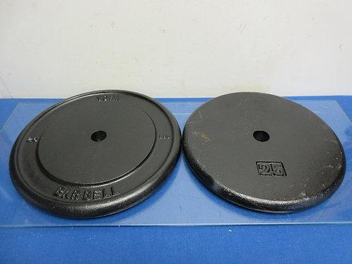 Set of 2 cast iron 25lb barbell standard weight plates, black