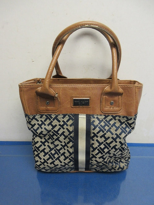 Tommy Hilfiger cloth and brown leather purse