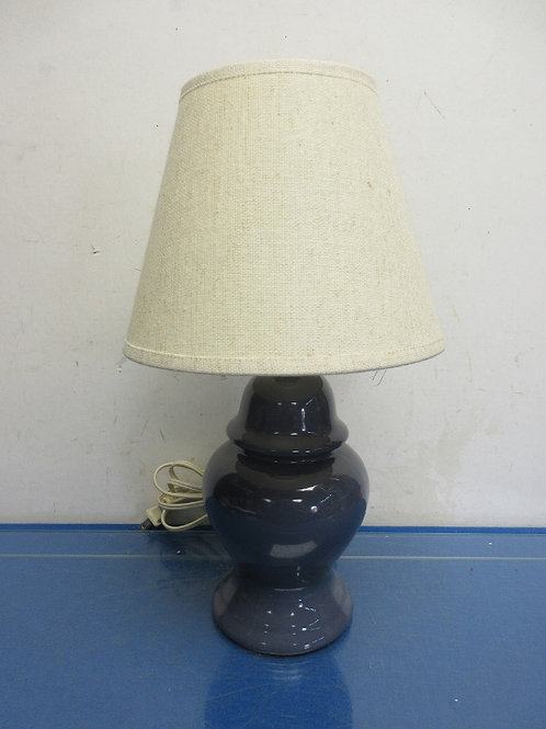"""Small blue ceramic jar style bedside lamp with ivory shade - 15"""" high"""