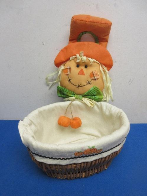Oval woven basket with Halloween cloth liner& scarecrow door knob hanger