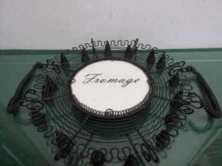 """Black wire decorative serving platter with handles """"fromage"""""""
