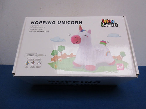 """""""I play, I learn"""" hopping unicorn comes with pump, 18mon+, new in box"""