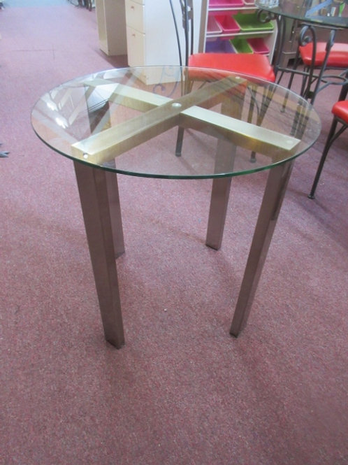 """Glass top round brushed nickle metal base - 26"""" dia"""