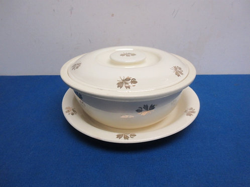 Vintage kitchen kraft ivory serving bowl with gold flower design, w/lid & plate