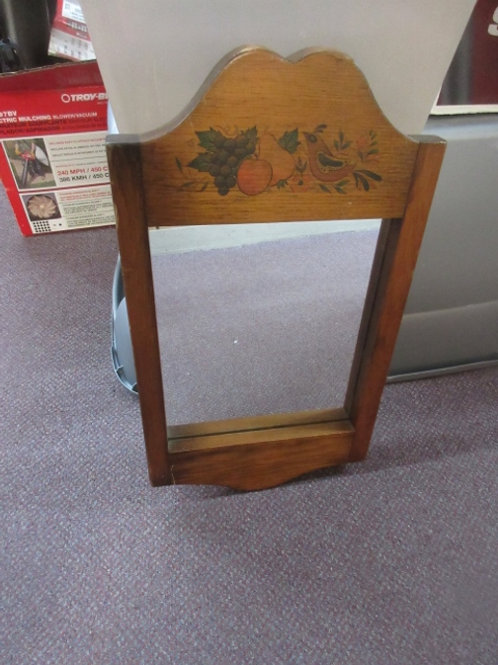 """Wooden framed wall mirror with fruit design on top,12x21"""""""
