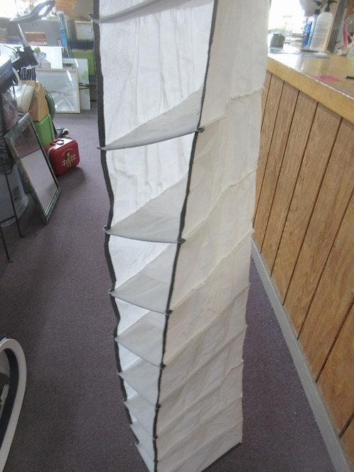 White cloth shoe organizer for closet, 10 slots