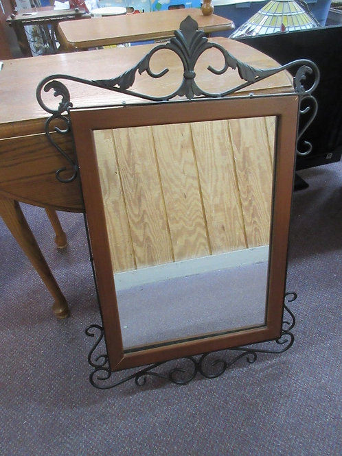 "Cherry framed mirror w/black wrought iron edging 15x27"""