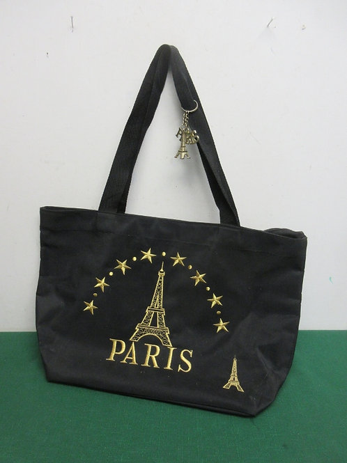 Black tote bag with paris &eiffel tower embroidery