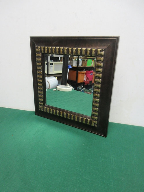 Beveled wall mirror dark frame with gold accent, 12x12