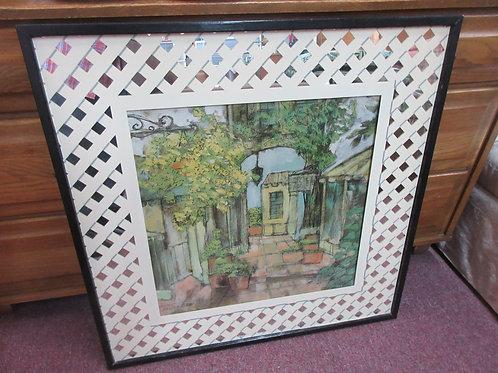 "Lawrence Retter's garden patio w/mirrored lattice mat, black frame 31x31"""
