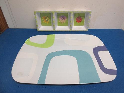 Large rectangular platter & 3 section serving bowl