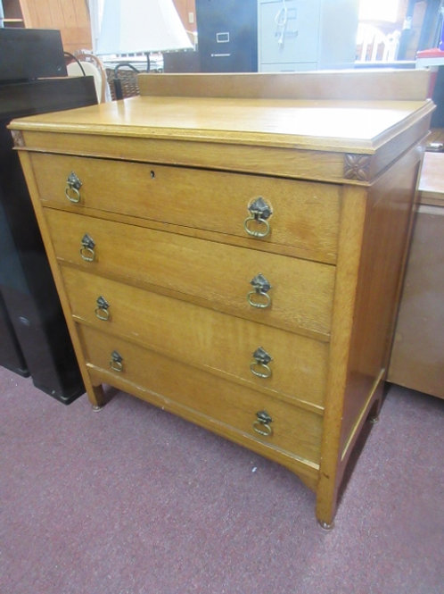 Antique tiger oak 4 drawer chest of drawers - 20x36x41