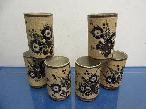 Set of 6 pottery cylinder glasses/vase floral design