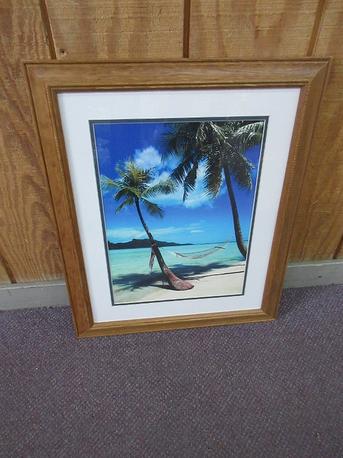 Print of hammock at the beach with white mat and natural frame