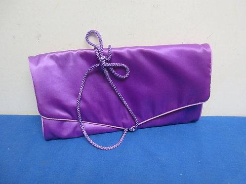 Purple satin jewelry organizing storage bag