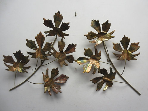 Set of 2 coppertone leave wall hangings