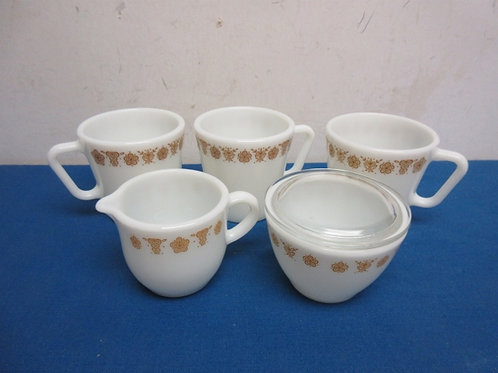 Set of 3 white Pyrex mugs and matching sugar and creamer