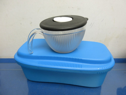 "Blue tupperware container 6x11x5"" and a tupperware 2 cup w/vented lid"