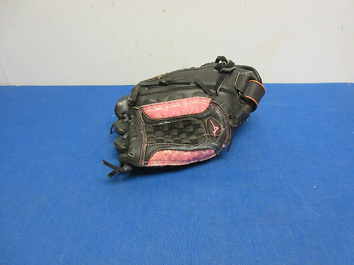 Child size black and pink right handed fielding glove, game used