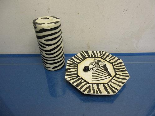Decorative Zebra plate and zebra pillar candle