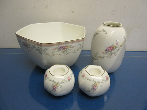 Christopher Stuart 4pc china set, bowl, vase and 2 candle holders, all foral des