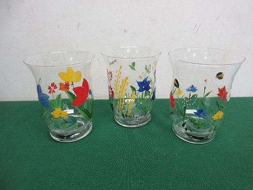 Set of 3 glass hand painted candle holders-colorful flower designs