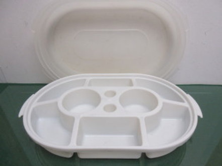 "Plastic 8 section veggie dip tray with snap on lid, 10x16x2""deep"