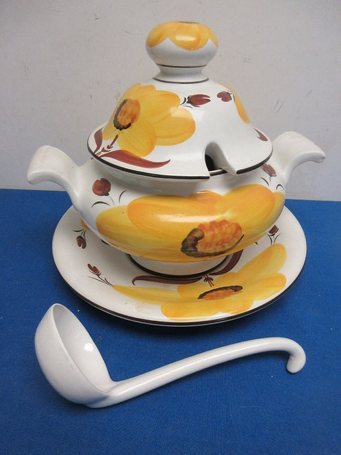 Large floral design soup tureen with ladel and plate