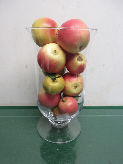 """Footed jar filled with artificial apples, 12""""high"""