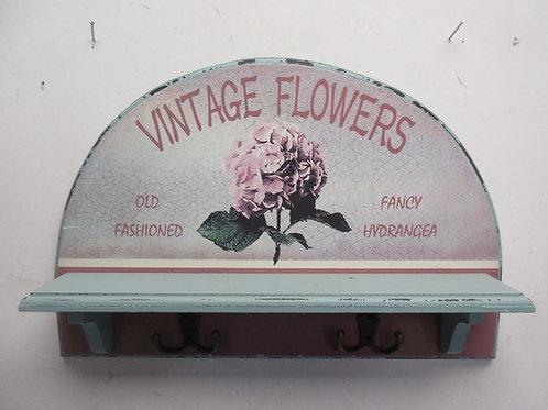 "Small blue wood shelf with 2 coat hooks""Vintage flower.."" 11x16"""