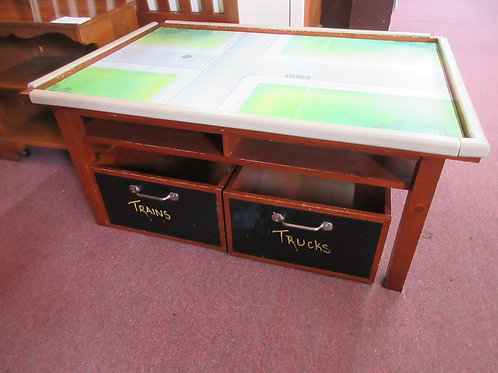 Pottery Barn play table with heavy wood storage boxes on wheels